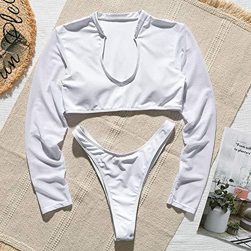 Retro vintage badpakken met hoge taille, bikiniset met lange mouwen, zomer mesh string string badpak, vrouwen zacht zwemkostuum
