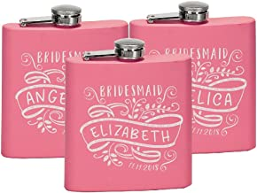 Personalized Bridesmaid Maid of Honor Favor Stainless Steel Bachelorette Party 6 oz Hip Flask Gift D1-3