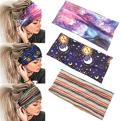 Tabiger 3 Pack Headbands Boho Wide Women Hairbands Sport Headbands Elastic Workout Sweatbands Bohemia Printed Headwraps Stretchy Exercise Fitness Yoga Headbands Stylish Hair Accessories