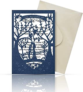 Laser Cut Printable Wedding Invitation Kits - 25pcs 4.7'' x 7'' Love Tree Wedding Invitations Cards with Printable Paper and Envelopes for Engagement Marriage Bridal Shower Anniversary(Navy Blue)