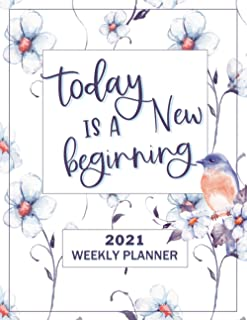 Today is a New Beginning Planner 2021: White with Lavender Style Weekly Planner 8.5 x 11, Other Styles Available (Pro Duck...
