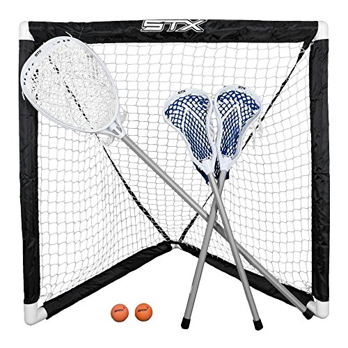 STX FiddleSTX Three Player Game Set with Two Field Player Sticks One Goalie Stick Mini Goal and Balls , White/Grey