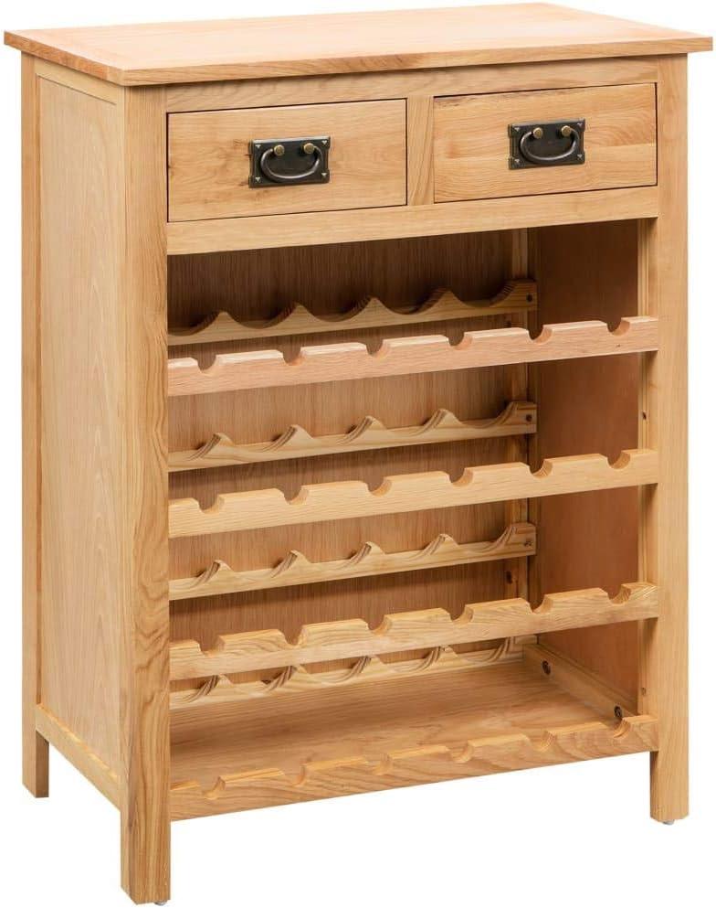 vidaXL Solid Oak Wood Wine Cabinet Home Drink Bar お洒落 Bottle Storage 豪華な