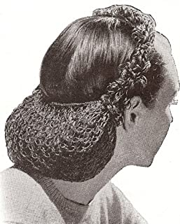 Vintage Crochet PATTERN to make - 1940s Snood Hair Net Head Band. NOT a finished item. This is a pattern and/or instructions to make the item only.