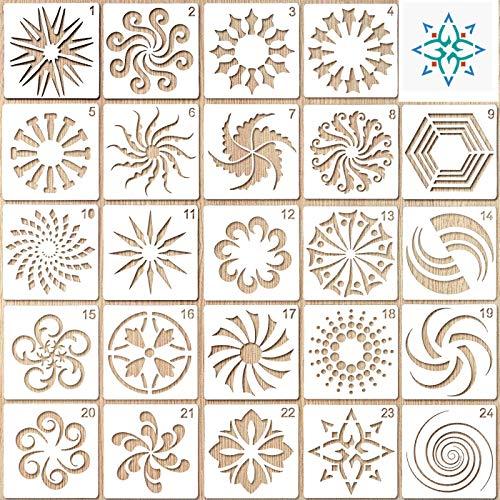 Wiederverwendbare Mandala-Schablonen-Set mit 24 Stück,Mandala-Schablonen Schablonen Set Mandala Dotting Malschablonen Werkzeug für Möbel, Bodenfliesen,Felsen und Wände (13 x 13 cm / 5,1 x 5,1 Zoll)