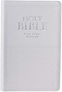 KJV Holy Bible, Standard Bible, White Faux Leather Bible w/Thumb Index and Ribbon Marker, Red Letter Edition, King James Version