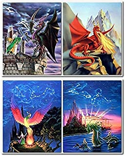Magical Fire Dragon Wizard Fantasy Kids Room Picture 8x10 Four Set Wall Decor Art Print Posters