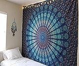 Tapiz grande Colgante de pared - Algodón puro Mandala Tapices de pared Decorativo King Size Ropa de cama Boho Decoración de la sala de estar - Azul - 274 x 229 cm
