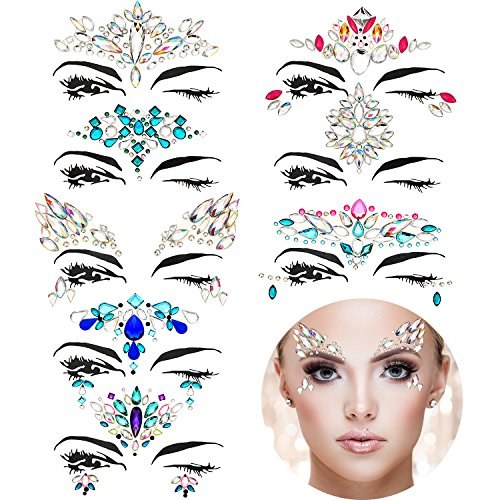 TOODOO 8 Sets Face Gems Rhinestone Colorful Sticker Tattoo Jewelry Stick on Face Festival Jewels for Forehead Body Decorations (Shiny Style)