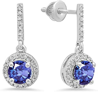 Dazzlingrock Collection 10K 5 MM Each Round Gemstone & White Diamond Ladies Halo Style Dangling Drop Earrings, White Gold