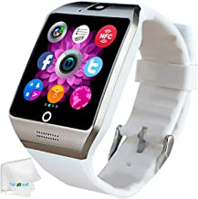 Bluetooth Smart Watch SIM Card Slot Camera Smartwatch Sports Fitness Tracker Wristwatch Compatible with Women Men Girls Boys Android Phones Samsung Galaxy S9 S8 S7 S6 Note 9 8 HTC Motorola ZTE White