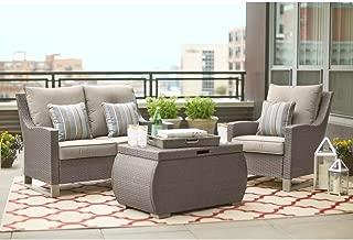 Hampton Bay Broadview 4-Piece Gray Resin Wicker Patio Seating Set with Sunbrella Spectrum Dove Cushions