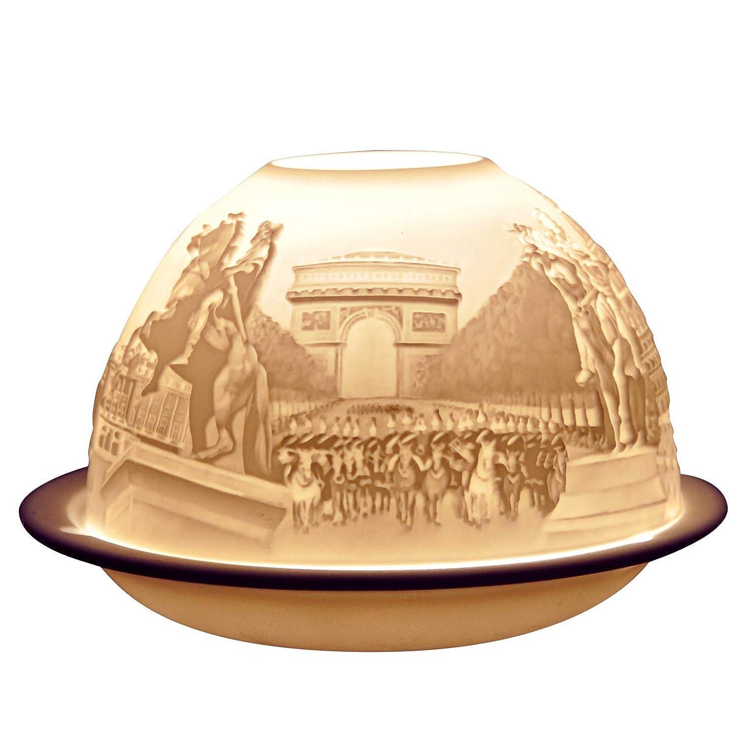 振動するこんにちは保有者ベルナルド[BERNARDAUD] キャンドル用リトファニー ランプ 「パリ モニュメント」フランス製 リモージュ