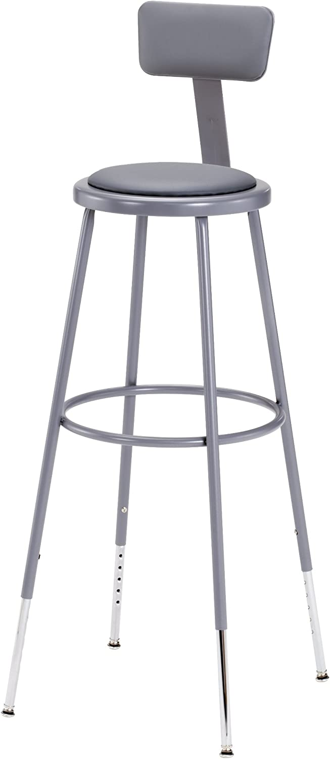 National Public Seating 6430HB Steel Stool with Vinyl Upholstered Seat Adjustable and Backrest, 31 -39 , Grey