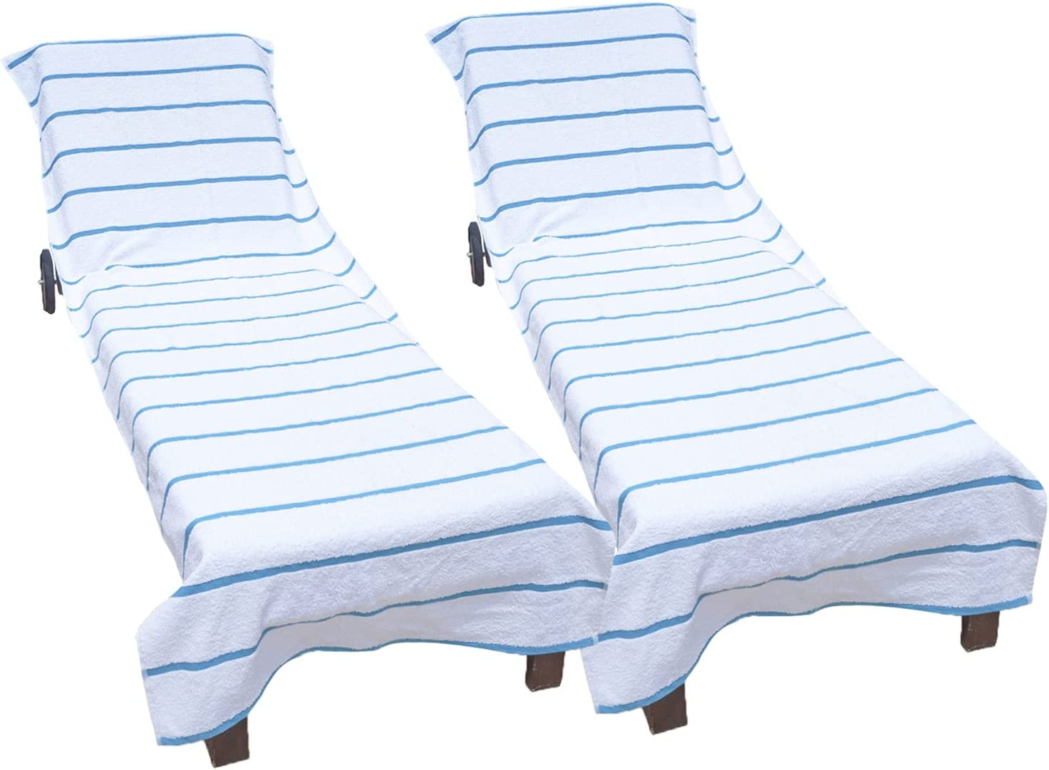 Arkwright Pool Chair Covers (Oversized:30x85 Inch, 2-Pack), Cotton Chaise Lounge Cover with 8 Inch Deep Pocket to Fit Any Beach Chair (Blue)