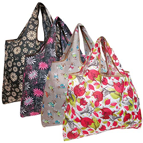 allydrew Large Foldable Tote Nylon Reusable Grocery Bags, 4 Pack, French Bulldogs and Flowers