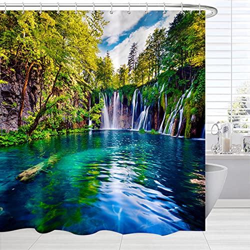 BROSHAN Green Natural Bathroom Shower Curtain, Tropical Trees Waterfall Lake Landscape Bath Curtain, Scenic Fabric Waterproof Shower Curtain Set with Hooks,72 inches