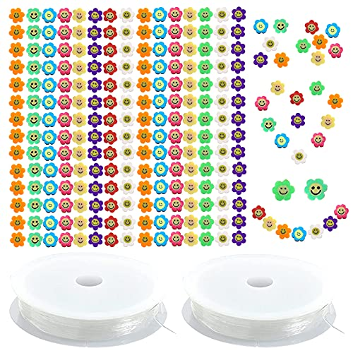 200 perlas acrílicas de cara sonriente, Cuentas de bricolaje mezcladas de colores de arcilla polimérica, con 2 cordones elásticos de cristal para collares, pulseras y pendientes de joyería HOINCO