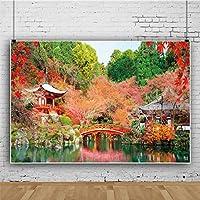 Qinunipoto ビニール 3x2m 日本の秋の風景 写真の背景 写真布 和風 テンプルビュー 赤いカエデの葉 赤い木製の橋 パビリオン 写真撮影の背景 背景布 背景幕 ポートレート スタジオ ブース小道具 写真撮影用