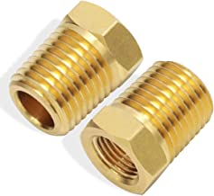 Boeray 1/4 Inch NPT Male Thread to 1/8 Inch NPT Female Thread Brass Pipe Fitting, Reducing Hex Head Hose Bushing Adapter Convert Pack of 2