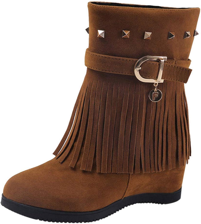 JaHGDU Platform Wedge Heel Tassel Women shoes Increased Platform Fashion Soles Boots Fringe Decoration High Heels Strappy Zipper Stiletto
