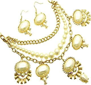 Fashion Jewelry ~ Cream Artificial Faux Pearls W Crystals Goldtone Necklace Earrings Set (JCNE 422GDCRM)