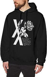 Mens Fleece Hooded Sweatshirt MGK Flower Rose Stylish Hoodie Pullover Black