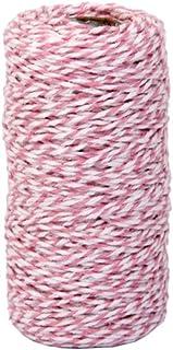 Newin Star 100 m Cotton Küchengarn Geschenk-Verpackung Baumwolseil Band Cotton Bakers Twine Perfekt für Backen, Metzger, Handwerk und Weihnachten Geschenkverpackung Pinky weiß Hausgarten-Küche