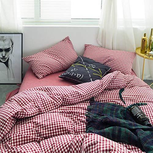 """Teyun. Plaid Striped Kollektionen Bettwäsche-Sets 4 Stück Bettwäsche-Deckblatt mit Kissen-, Ultra Soft, Leicht, hypoallergen, Durable (Color : 12, Size : 86"""" x94"""")"""
