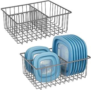 صندوق تخزين للمطبخ من ام ديزاين كيتشن مع 3 مقصورات منظم للمطبخ لحمل الأغطية وغيرها, فولاذ, Pack of 2