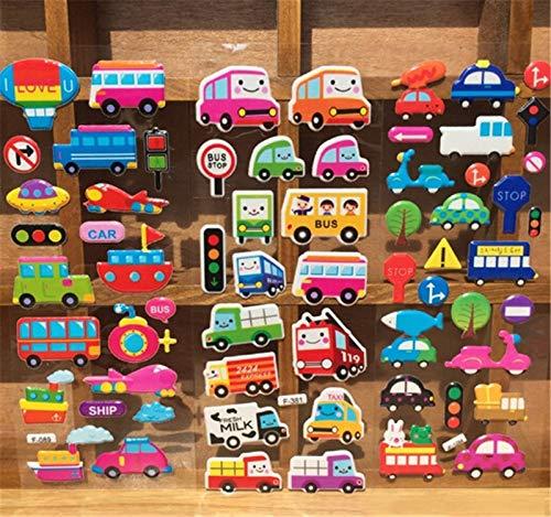 PMSMT 5 unids/Lote niños niñas y niños Pegatinas de Burbujas de Dibujos Animados Transporte Coches Mixtos Pegatinas de Dibujos Animados decoración