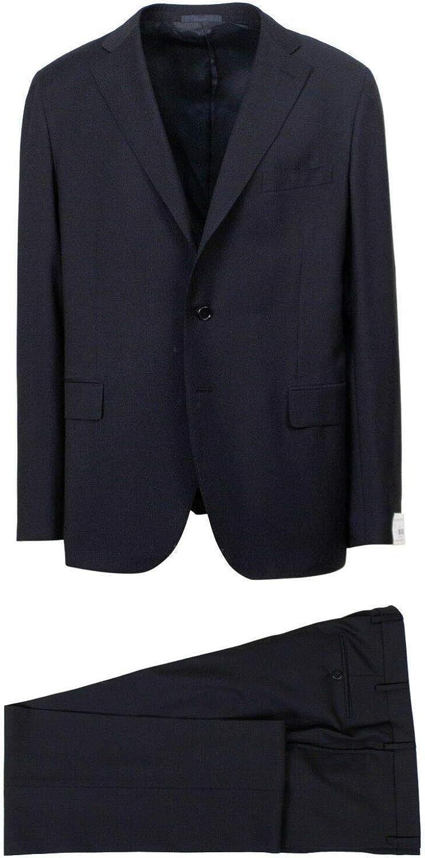 Caruso Men's Navy Wool 3 Roll 2 Button Slim Fit Suit 58/ R Drop 7 48 Navy Blue