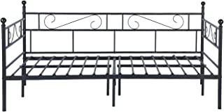 GreenForest Daybed Metal Bed Frame Twin Size Mattress Foundation Platform Base No Box Spring Needed for Guest Living Room, Black