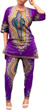 Vovotrade Women Fashion African Print Casual Straight Print Tops+Pants