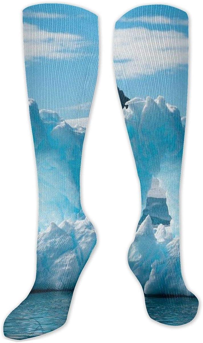 Iceberg On Body Of Water Knee High Socks Leg Warmer Dresses Long Boot Stockings For Womens Cosplay Daily Wear