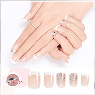 Doreliss False Nails Full Cover 30 Pcs Press On Nails with nail tapes (Clear Pink)