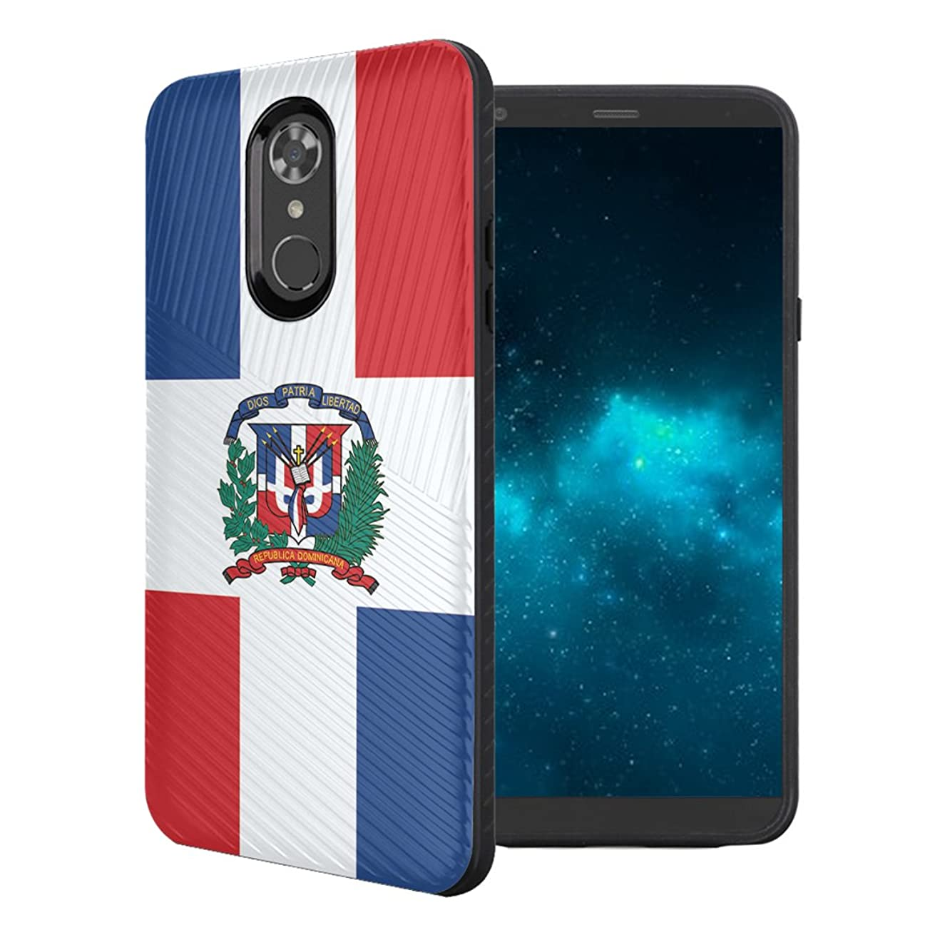 Capsule Case Compatible with LG Stylo 4 Plus, LG Stylo 4, LG Q Stylus [Embossed Diagonal Lines Hybrid Dual Layer Slim Armor Black Case] for LG Stylo 4 - (Dominican Republic Flag)