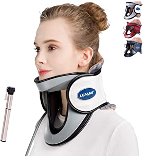 LEAMAI Newest Cervical Neck Traction Device - Adjustable InflatableNeck Stretcher Collar for Home Traction Spine Alignment -(C03,White)
