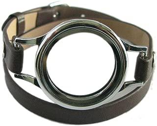 Generic Multi-color Plain Twist Threaded Watch Locket with 8mm PU Leather Wrap Bracelet Living Memory Floating Charm Locket DIY Jewelry (plain locket with brown wrap)