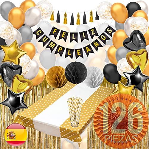 Decoracion Cumpleaños (123 PIEZAS) - Pack Incluye Pancarta' Feliz Cumpleaños', Globos, Guirnaldas, Banderines, Pompones, Cortinas y Mucho Mas… (Español Color Negro)