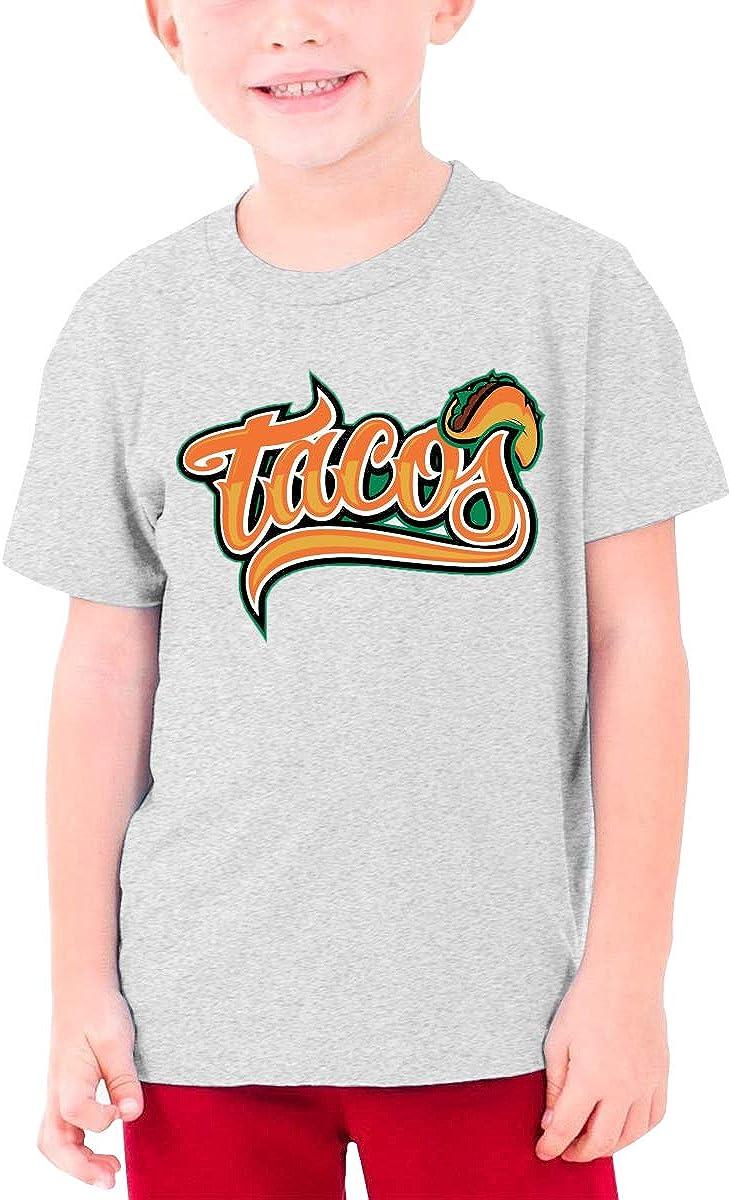 Tacos Restaurant Boys Girls Cotton Short Sleeve Tee Teenager Unisex Tee Top Gray