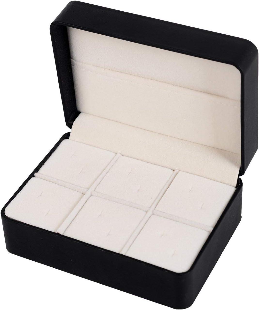 Salutto PU Box Cufflinks Tie Clip Brooch Lapel Storage Case Box Boutique Black