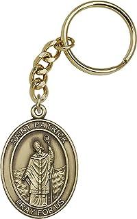 Gold Toned Catholic Saint Patrick Medal Key Chain