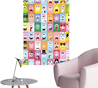 Wall Art Prints Set of Internet Cartoon Meme Funny Facial Gesture Emotion Icons Digital Illustration Multi for Living Room Ready to Stick on Wall,28