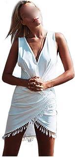 Dream-Cabin - Vestido de Playa para Mujer, con Borla, Cuello en V, para la Playa