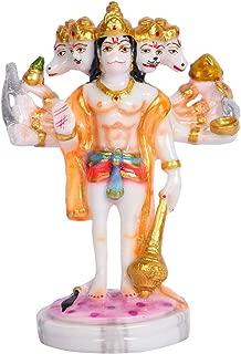 Sharvgun Marble Idols Panch Mukhi Hanuman Standing-6 Inch Indian Meditation Temple Mandir Puja Items