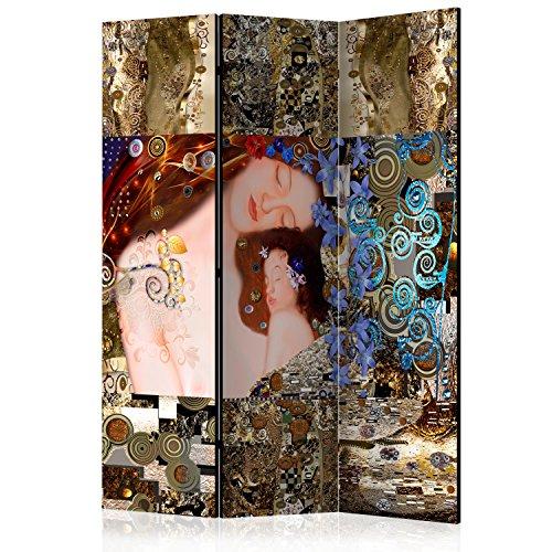 murando Raumteiler Klimt Mutter und Kind Foto Paravent 135x172 cm einseitig auf Vlies-Leinwand Bedruckt Trennwand Spanische Wand Sichtschutz Raumtrenner Home Office l-A-0015-z-b