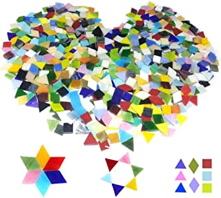 500PCS/380g Mosaic Tiles Stained Glass for DIY Art Craft or Home Decorations with Organizing Container,Smooth Surface Bulk Mosaic Glass Assorted Mixed Colors & Shapes like Triangle, Square, Rhombus(No