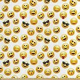 ABAKUHAUS emoticon Stoff als Meterware, Lächelnde
