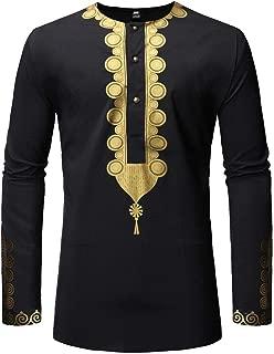 Mens African Clothing Dashiki Traditional Long Sleeves Dress Shirt
